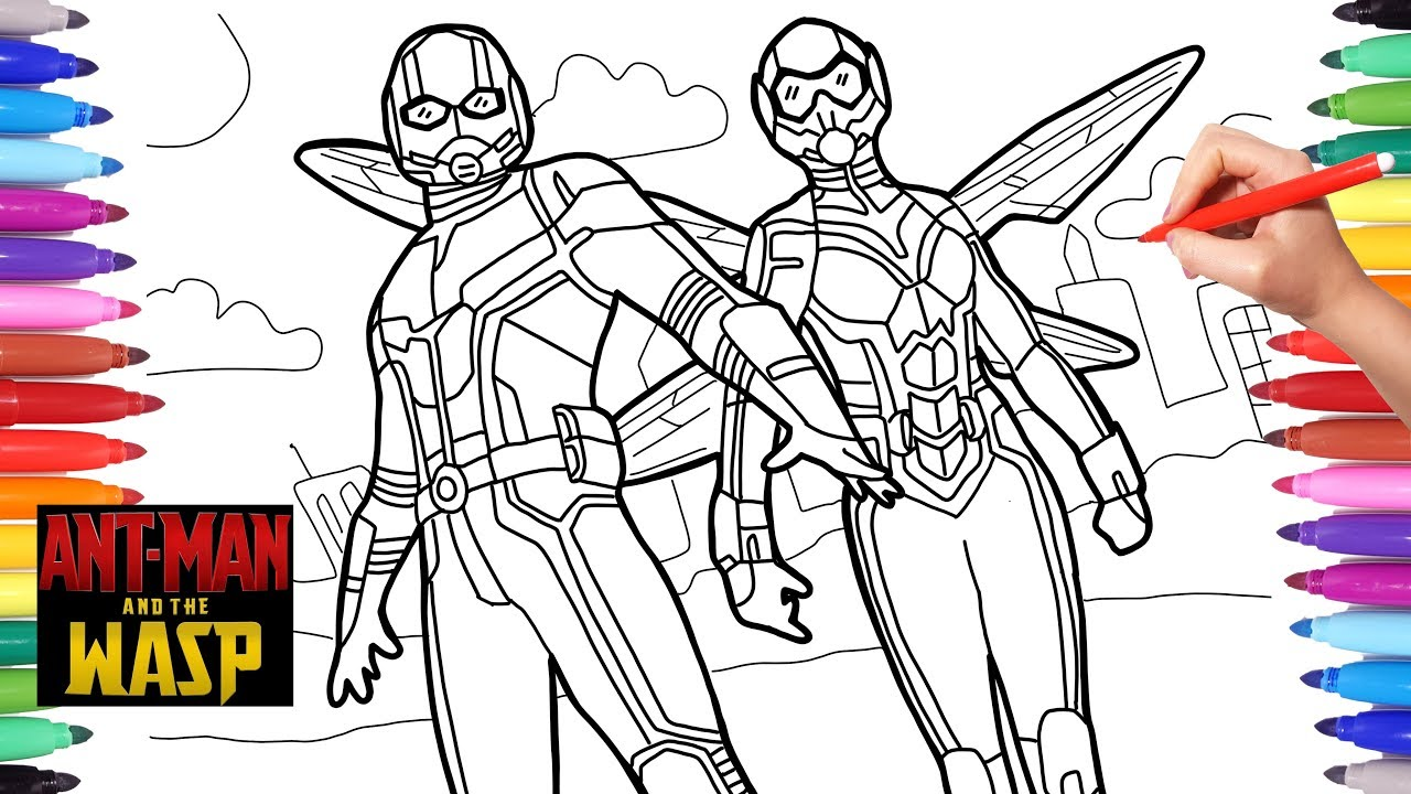 Superhero Thanos Coloring Pages: Antman And The Wasp Coloring Pages, How To Draw Antman And