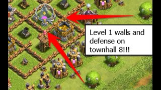 Worst clash of  Clans base ever. TOWNHALL 8 with LEVEL 1 DEFENCE and amazing loot
