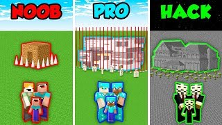 Minecraft NOOB vs. PRO vs. HACKER: FAMILY BASE DEFENSE in Minecraft! (Animation)