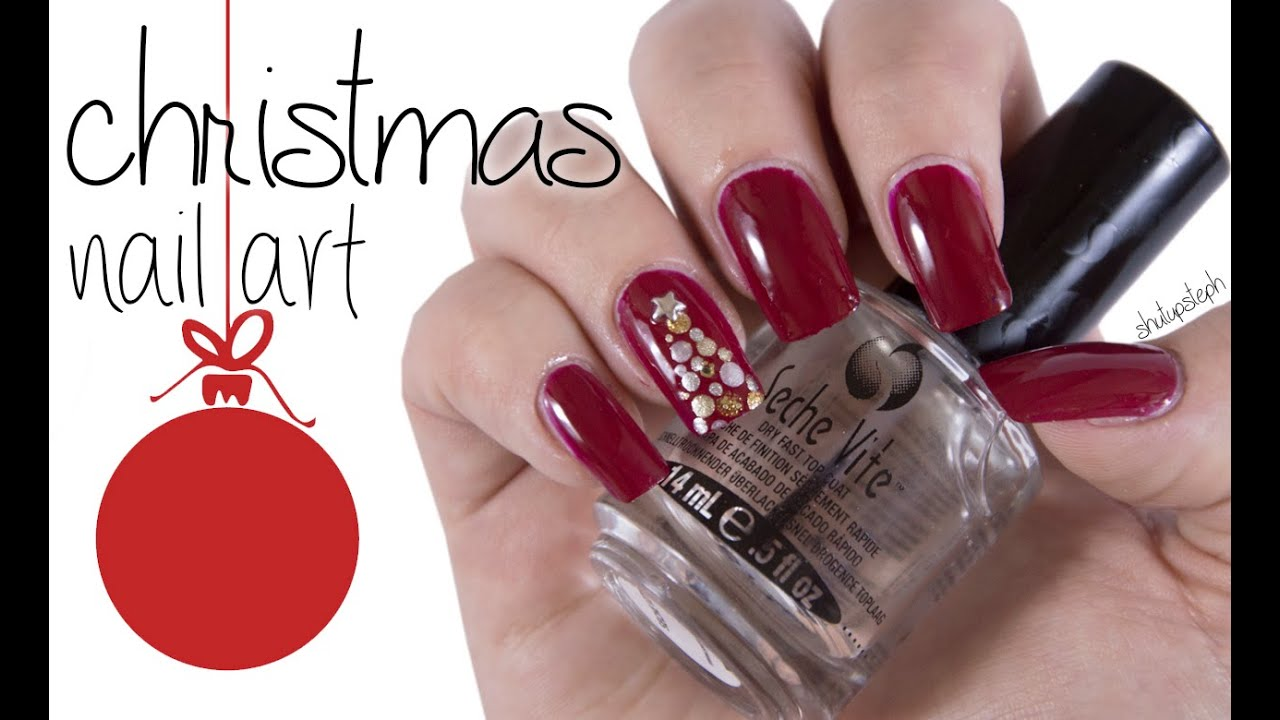 Super Easy Elegant Christmas Tree Nail Art Shutupsteph