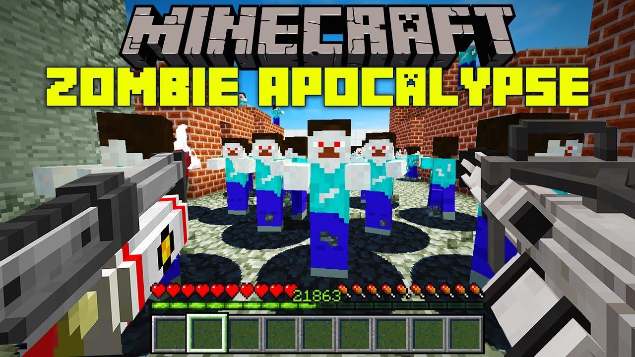 Minecraft ZOMBIE APOCALYPSE MOD!  ZOMBIE NUKE, GUNS, AND MORE!  Modded  Mini-Game
