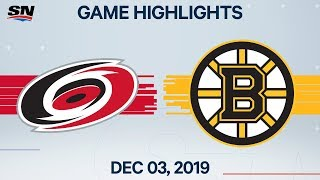 NHL Highlights | Hurricanes vs. Bruins - Dec. 03, 2019