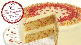 Confetti Cake / Sprinkle Cake / Torte mit bunten Streuseln / Valentinstag / Backen / EvasBackparty