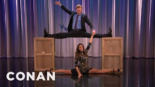Nina Dobrev & Conan Do The Splits Together  - CONAN on TBS