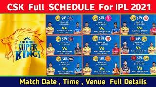 IPL 2021 - CSK All 14 Match Full Schedule   Chennai Super Kings all Match Schedule vivo ipl 2021