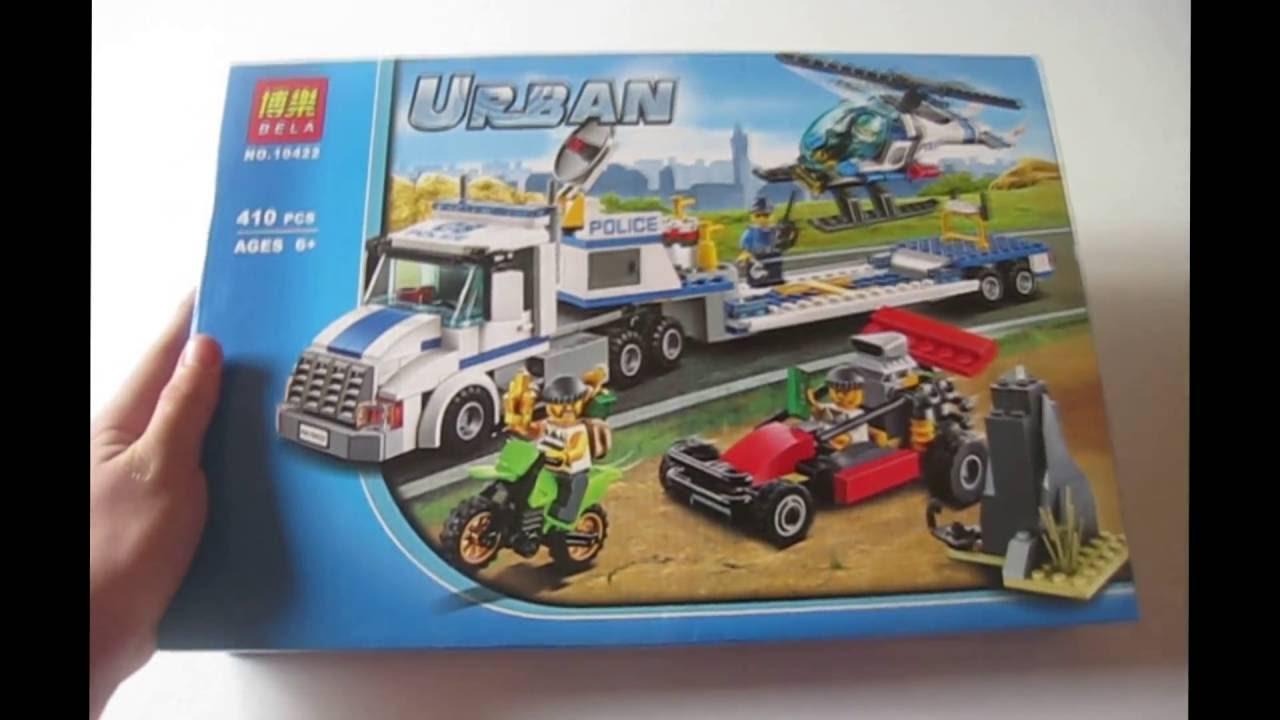 Лего Урбан Полиция 10422. Обзор Лего Грузовик, вертолёт, мотоцикл