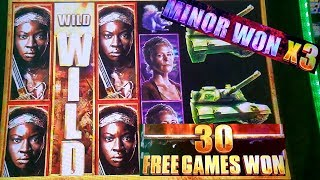 Walking Dead 2 Slot Machine Bonuses & X3 MINOR JACKPOT Won ! Live Aristocrat Slot Play