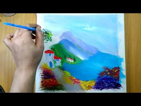 Art class/Landscape painting/painting idea for beginners