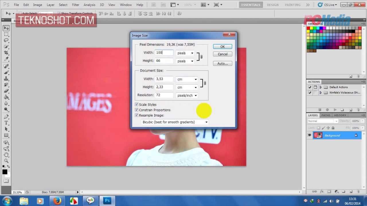 Merubah Ukuran Gambar Di Photoshop Cs5 Youtube
