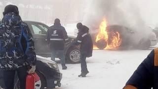 Взрыв машины на Ноградской 5 Кемерово 24.01.2018