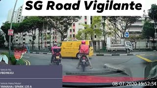 8jul2020 sembawang drive #FBD9833J yamaha spark driving against traffic direction for a short cut