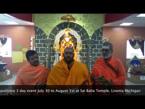 3-Day Gurupurnima Event at Sai Baba Temple, Livonia Michigan