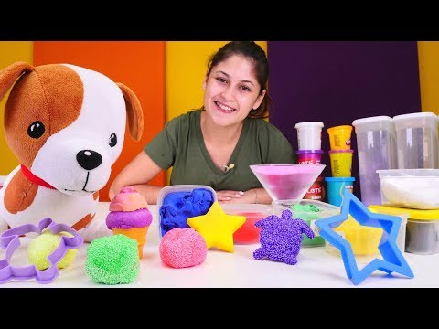 Ayşe ile kinetik kum ve hamur oyunu. Kız oyuncakları