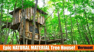 """""""Hobbit Tree House"""" made with on-site natural materials! (tiny house)"""