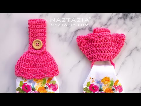 CROCHET TOWEL TOPPERS With HIDDEN RING - Easy Kitchen Towels By Naztazia