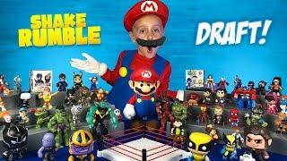 Wolverine, Thanos & Mario! Super Hero Shake Rumble Draft for Kids!