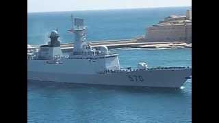 Chinese Navy frigate Huangshan entering the Grand Harbour Malta 2013