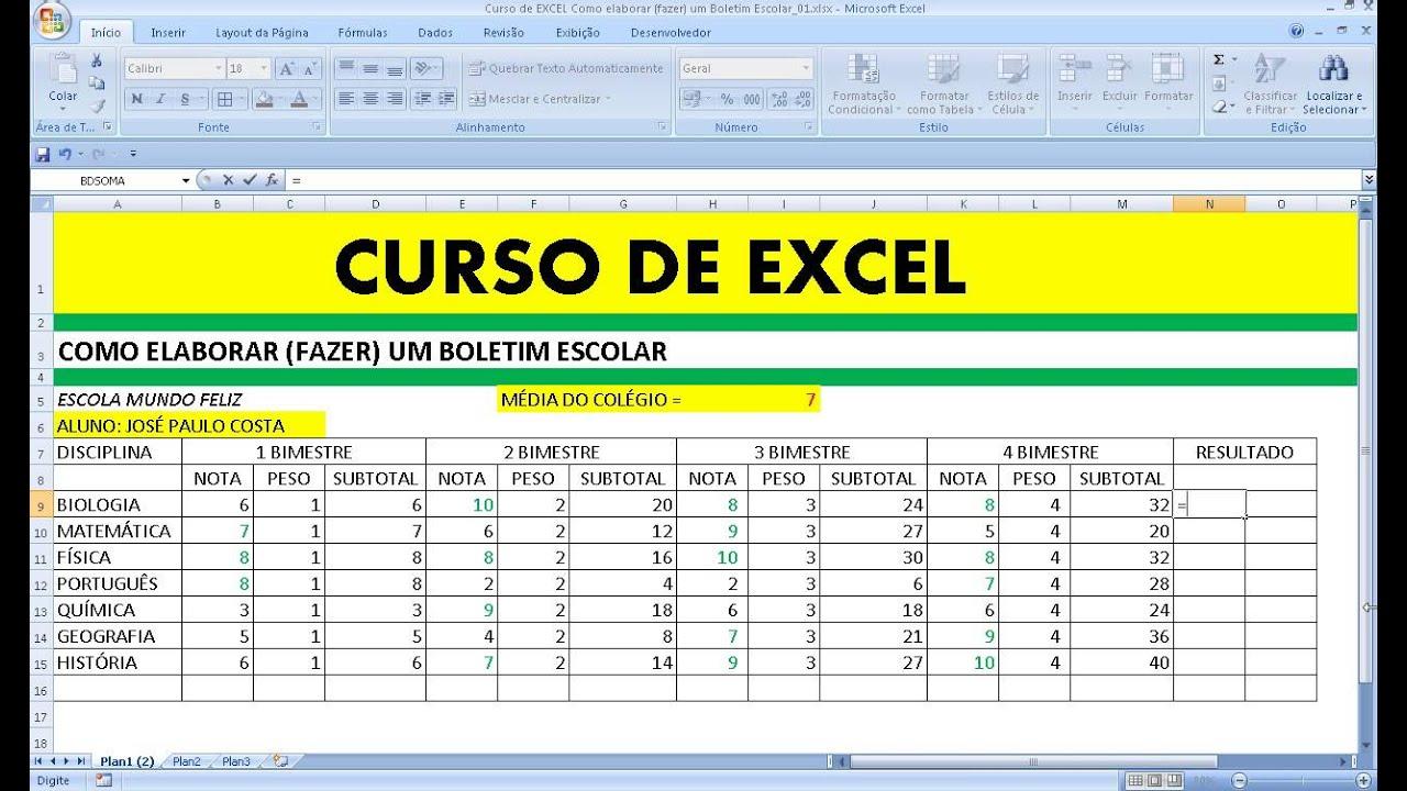 Favoritos Curso de Excel Como elaborar (fazer) um Boletim Escolar com Média  MF97