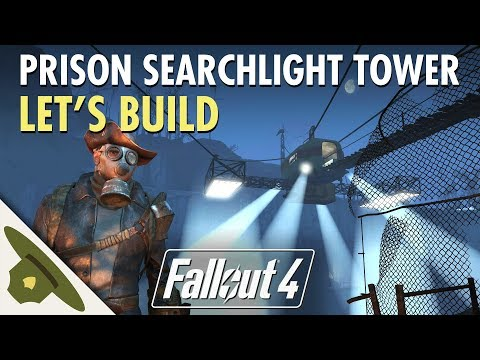 Fallout 4: Thicket Excavations Prison | Massive searchlight tower! |  Let's Build Part 2