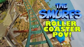 Smurfing Awesome Smurf Village Express Roller Coaster POV Front Seat Motiongate Theme Park Dubai UAE