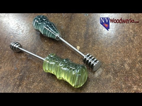 Woodturning A Resin Cast Aluminum Honeycomb Handle for A Stainless Steel Honey Dipper
