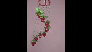 how to make a Strawberries door bell puthi kaj [beaded]