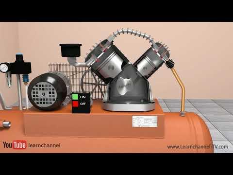 How an air compressor works - Tutorial pneumatics, technical animation