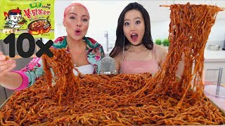 10 PACKS SPICY NUCLEAR BLACK BEAN NOODLES CHALLENGE | MUKBANG