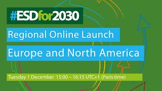 Regional online launch of the ESD for 2030 Roadmap - Europe and North America