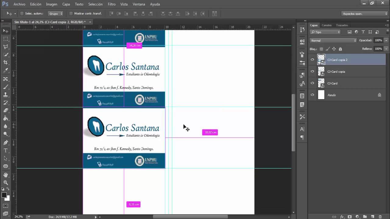 Imprimir tarjetas de presentación desde Adobe Photoshop - YouTube