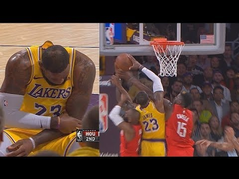 LeBron James Almost Injured By Chris Paul's Dirty Play After Pulling Arm Down! Lakers vs Rockets