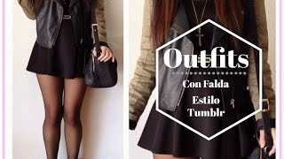 Outfits con Falda NEGRA  | Skirt Outfit Ideas TUMBLR| OUTFITS CON FALDA CORTA | ATUENDOS CON FALDA