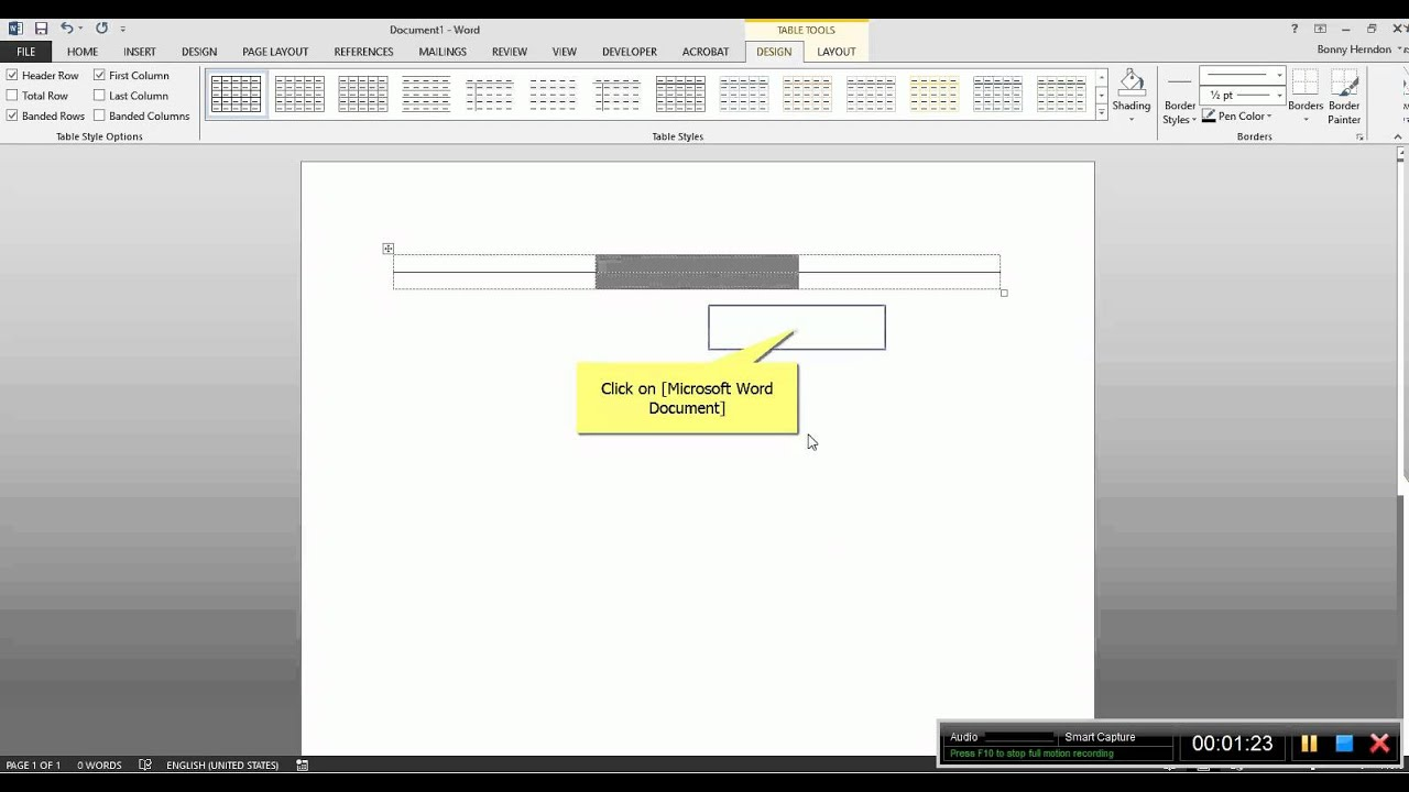Drawing Lines In Word : Using a table in word to create signature lines youtube