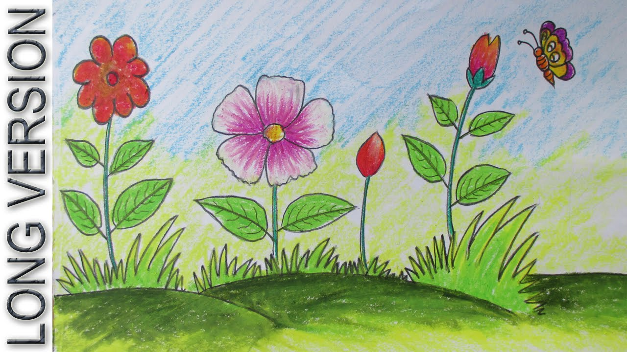 How to Draw a Scenery with Flowers for Kids  Long Version    YouTube