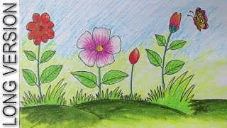 How to Draw a Scenery with Flowers for Kids [Long Version]