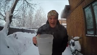 Throwing water into the air at -52 below zero in fairbanks Alaska thumbnail