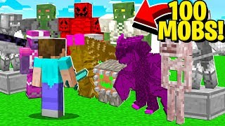 Fighting 100 NEW Minecraft Mobs (Minecraft Addon Mod)