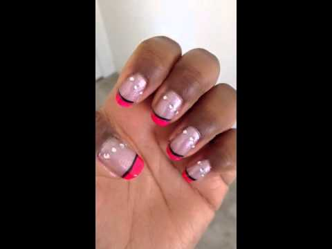 Hot Pink French Tip Nail Design
