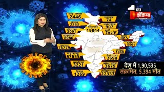 Corona Update: देश में पॉजिटिव मरीजों का आंकड़ा 1,90,535 हुआ, 5394 हुई मौतें |  1 June 2020