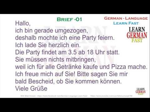 German Brief 01  - A1, A2, B1, B2, C1, C2