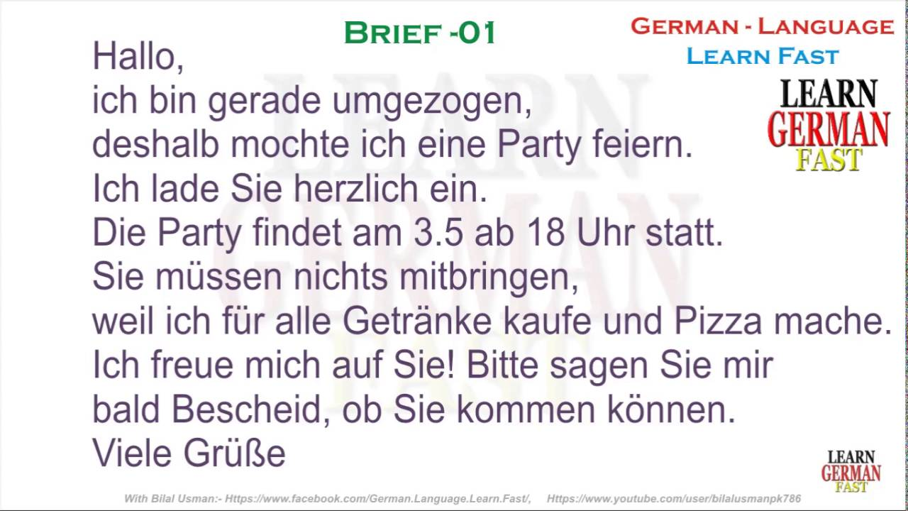 German Brief 01 A1 A2 B1 B2 C1 C2 Youtube