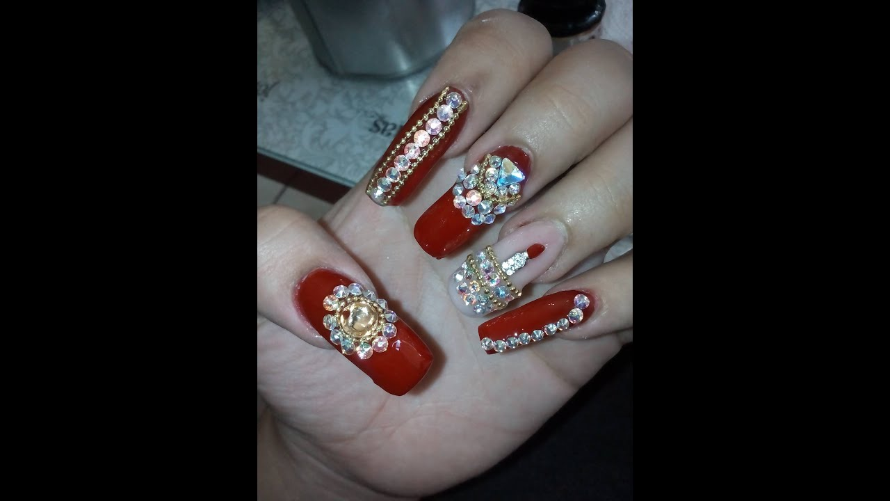 U as estilo sinaloa color rojo youtube for Unas con piedras swarovski