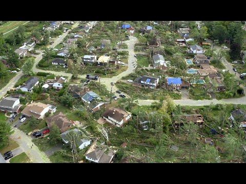 Ottawa Tornado Path of Destruction Drone View
