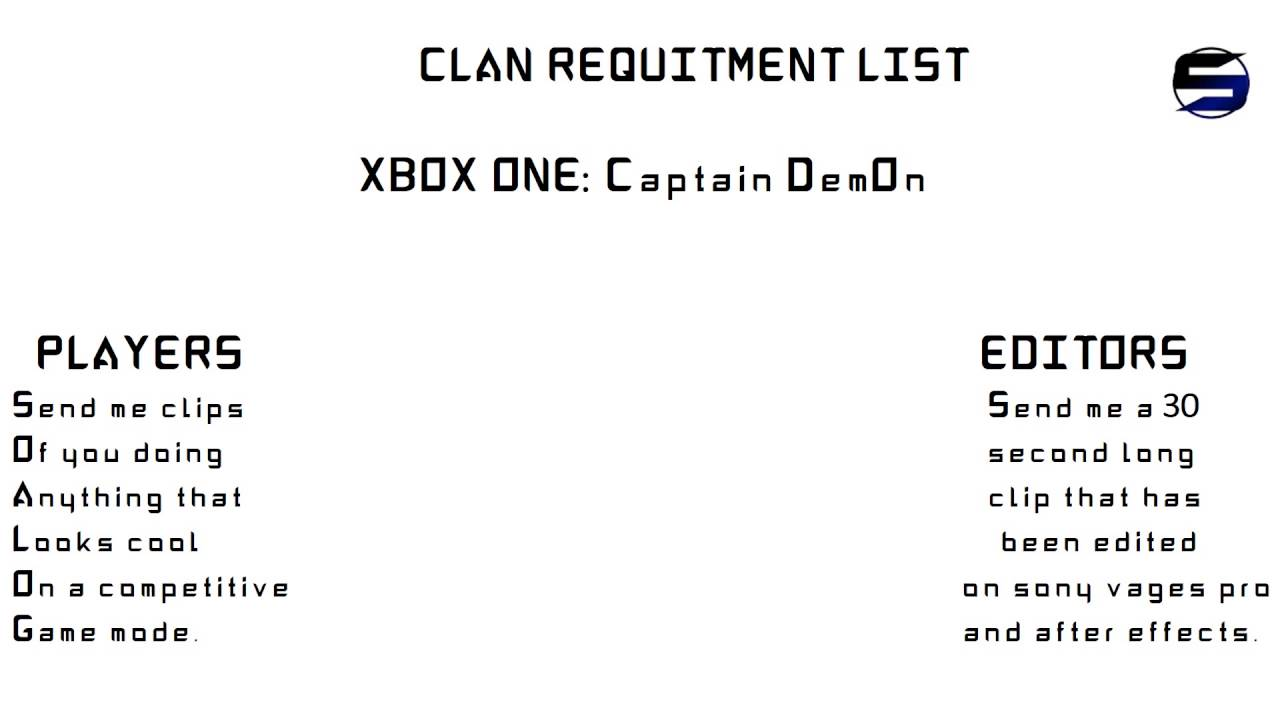 Cod Clan Recruitment Sin Clan Competitive Team Youtube