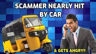 Scammer Nearly Gets Hit BY A CAR & Gets Angry! thumbnail