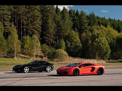 Ferrari F12 vs LP700-4 Lamborghini Aventador x 4 races