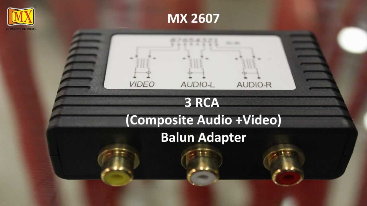 How to install 3 RCA Audio Video Balun to Cat5 Cable Adapter Passive  Twisted-Pair Transceiver
