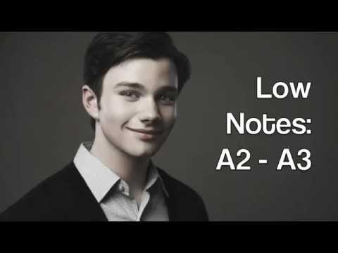 Chris Colfer Glee season 1 - 6 vocal range: A2 - G5