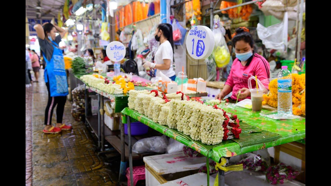 "[4K] 2020 ""Pak Klong Talad"" flower market close MRT station, Bangkok"