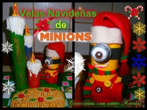 Velas navide as de minions como hacer un minions material reciclado minion christmas candles for Velas navidenas